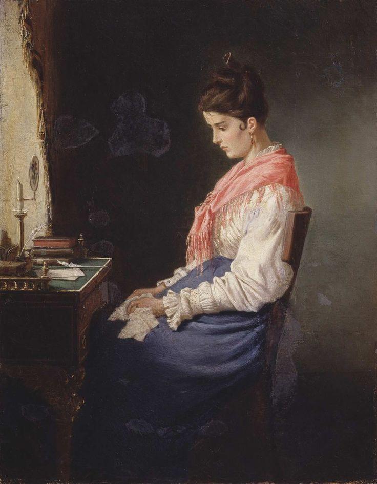 Клодт Михаил Петрович - Девушка за письменным столом, 1874