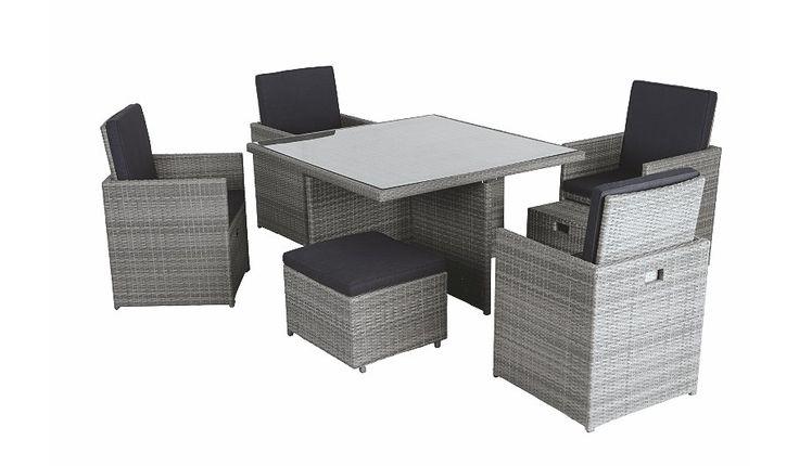 Garden Furniture Dining Sets Cube Piece Set Grey