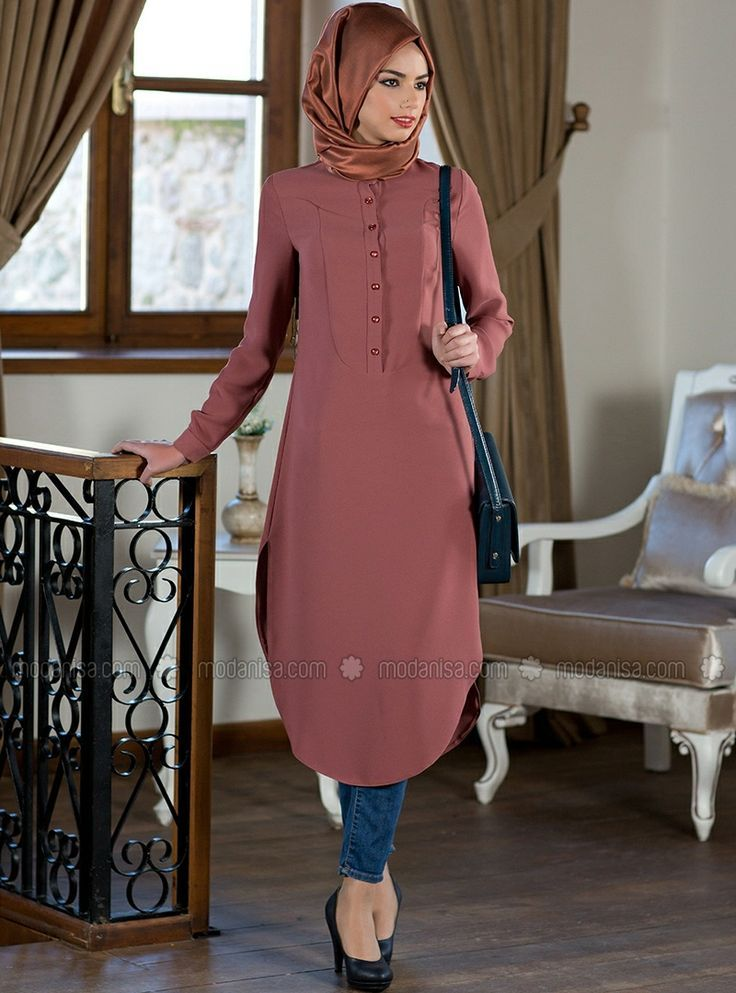 Itır Tunik - 5016 - Kiremit - Kuaybe Gider I would like it better if the sleeves were shorter. I think I would wear it as a dress. Love the shape at the bottom, how it rounds up to either side - Hijab Fashion