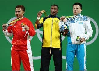 Irawan, Eko Yuli, Figueroa Mosquera, Oscar Albeiro, Kharki, Farkhad - Weightlifting - Indonesia, Colombia, Kazakhstan - Men's 62kg - RC2 - Riocentro - Pavilion 2