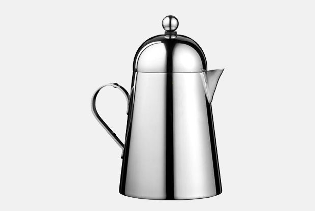 Domus Cream Jug  http://www.nickmunro.com/shop/tea-and-coffee/  Conical shaped cream jug with round lid made from 18/10 polished stainless steel. Dishwasher safe.  Dimensions:  Capacity: 300 ml  Height: 14.5 cm  Diameter: 8.5 cm