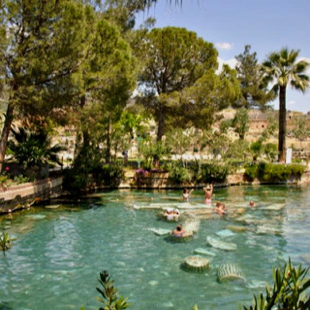 Pamukkale hot springs-Hierapolis, Turkey: Turkey Photos, Terraces Pools, Sacred Pools, Most Visit Ancient, Romans Columns, Spa Town, Hot Springs, Ancient Ruins, Greek Romans