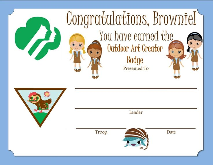 Brownie Outdoor Art Creator Badge Certificate