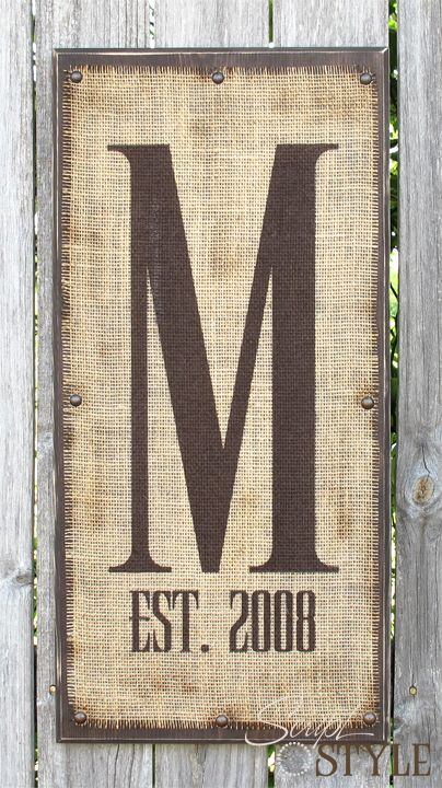 Monogram on burlap with letter and marriage year.