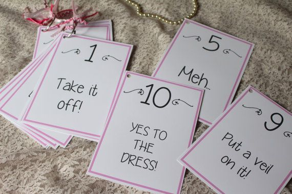 Wedding Dress Shopping Score Card Signs  by FreeSpiritCrafting Great idea for wedding dress shopping when the bride says yes to the dress. Great gift idea for bridesmaids or bride to be