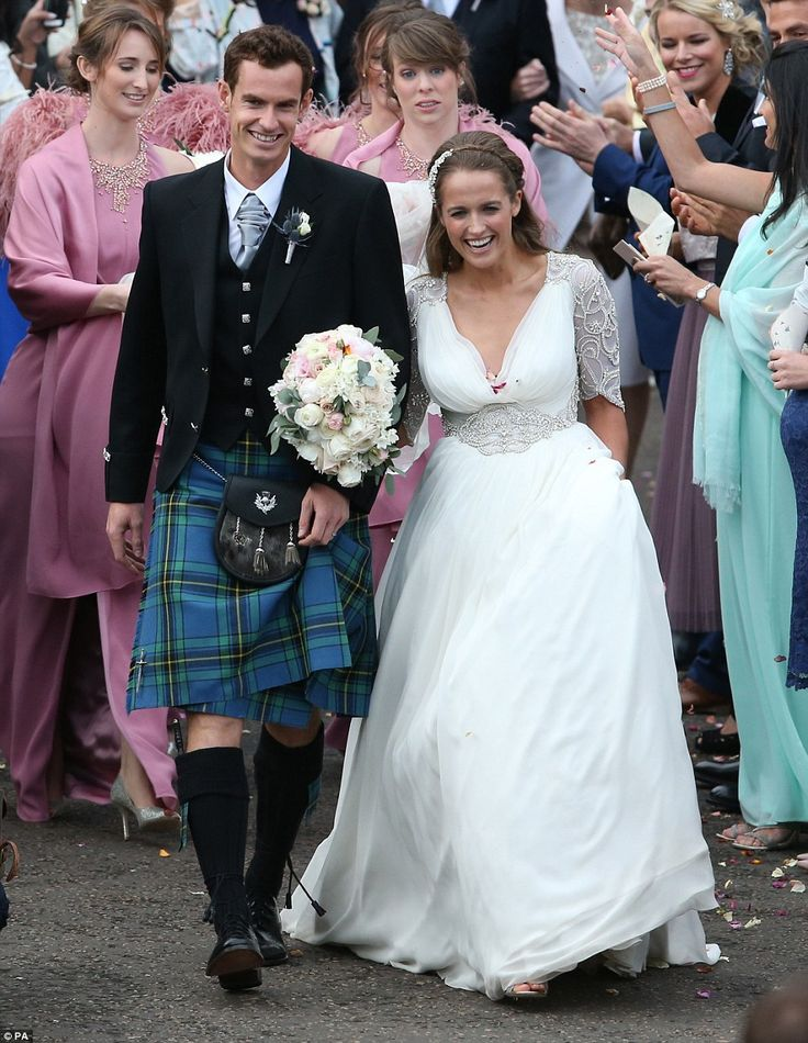 Introducing Mr and Mrs Murray: The first pictures of Andy Murray and new wife Kim, who looked beautiful in her embroidered bridal gown