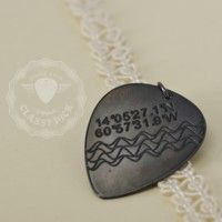 Personalized Heart Rate + GPS Coordinates Guitar Pick Jewelry