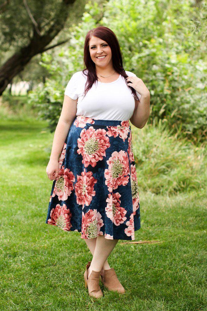 Shayla Skirt in Navy-Curvy