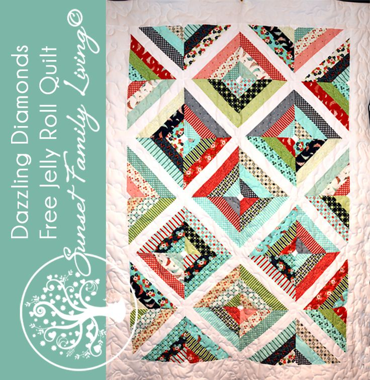 Dazzling Diamonds Free Jelly Roll Quilt Pattern From