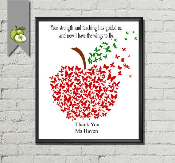 Teacher Appreciation gift: Personalised apple art print printable with teacher name Apple word art DIY printable retirement butterfly