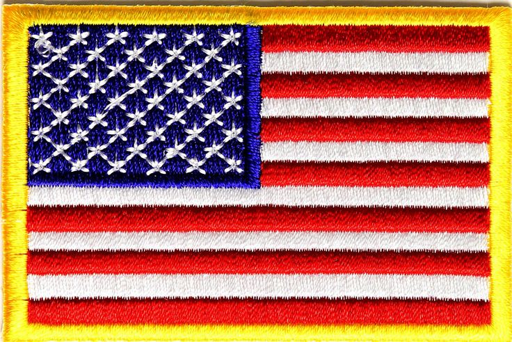 AMERICAN-FLAG-EMBROIDERED-PATCH-iron-on-GOLD-BORDER-USA-US-United-States-QUALIT