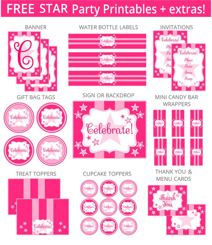 The free printable Pink Star set can be used for Rockstar, American Girl, Sweet 16 or any girl parties!  It includes invitations, gift tags, and a 5×4 inch sign which can be used as a greeting card.  Additional items can be added below. If you'd like the item(s) personalized, please add your text in the box at checkout.  For Personal Use Only. Do not modify, change, redistribute or sell.