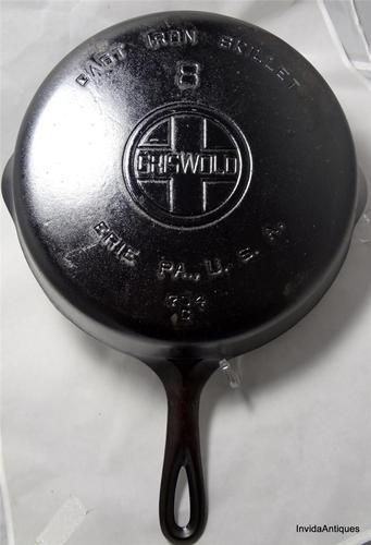 Vintage #8 Griswold Cast Iron Skillet/Pan 704C Large Logo Erie PA. - Cast iron skillets are amazing - use them for making a morning meal, lunch or dinner nearly every day.  http://accordingtobrian.com/castiron