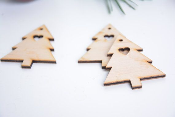 set of 100 wooden Christmas tree shapes decor gift packaging winter season holiday blank shape table tag set DIY unfinished laser cut cutout