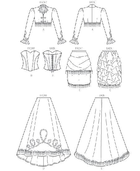 McCall's - M6911 naaipatroon Kostuum voor dames. Bolero, korset, korte en lange rok   Naaipatronen.nl   zelfmaakmode patroon online