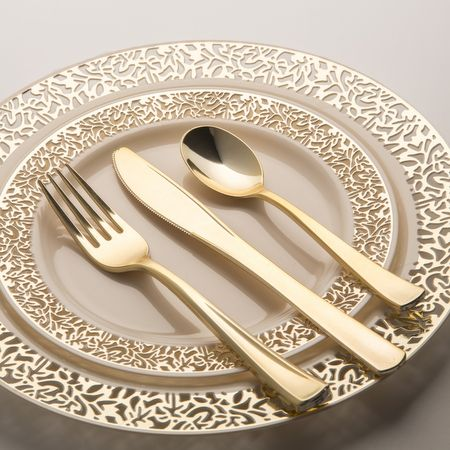 "1369 7.5"" Lace Ivory Gold Rim Plastic Salad Plates- looks nicer than real plates could even look"