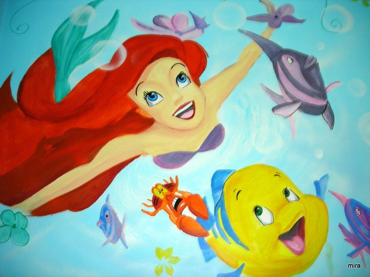 Ariel and friends/ Mural art for kids room/ Spray paint, acrylic paint,