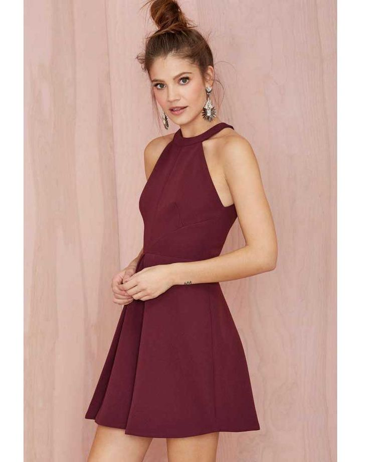 New Arrival Halter Fashion Burgundy Dress Homecoming