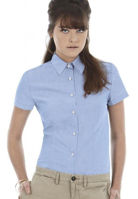 B&C Camicia aziendale donna cotone Oxford  Manica corta Tinta unita Stiro facile