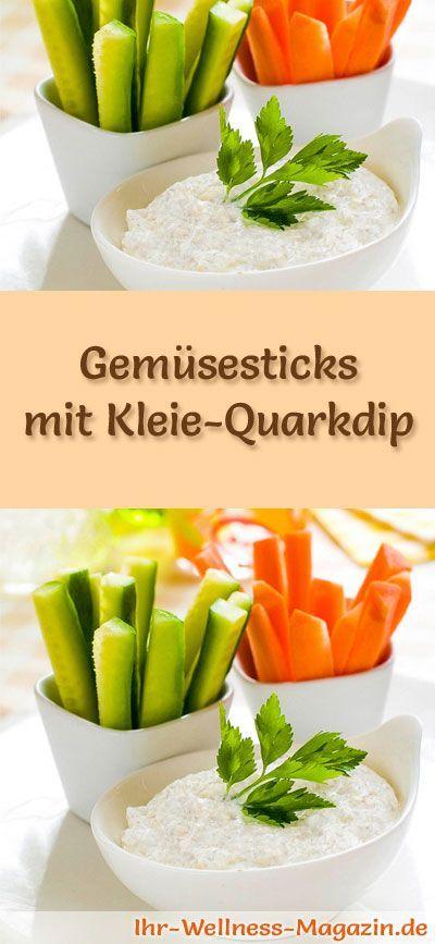 Rezept für Gemüsesticks mit Kleie-Quarkdip - Abnehmen ohne zu hungern durch sättigende Rezepte mit Haferkleie und Weizenkleie ...