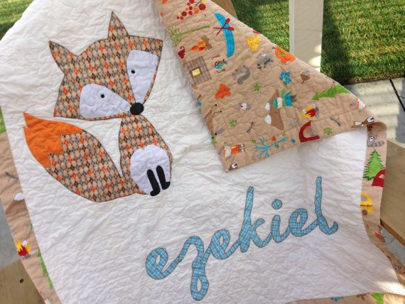 Fox Baby Quilt w/ Name Applique Personalized by TracyBugQuilts, $114.10-IT'S SO CUTE IM GONNA DIE! wait, I just saw the price....