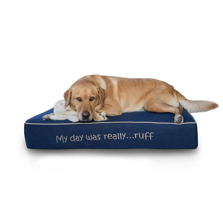 """Sleeping Ruff Large Pet Bed Orthopedic Memory Foam Perfect For Dogs With Waterproof Inner Liner and Cute Blue Denim Removable and Washable Cover With Non-slip Base (24"""" x 38"""" x 6"""")"""