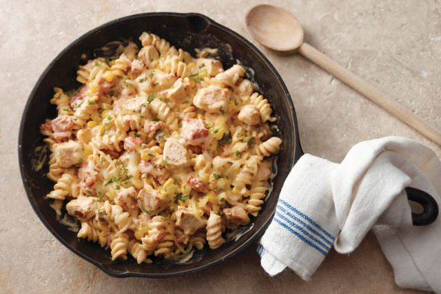 What happens when you add a creamy sauce to chicken, tomatoes, corn, and pasta? You get a tasty Southwest-style skillet dish, courtesy of Route 66.