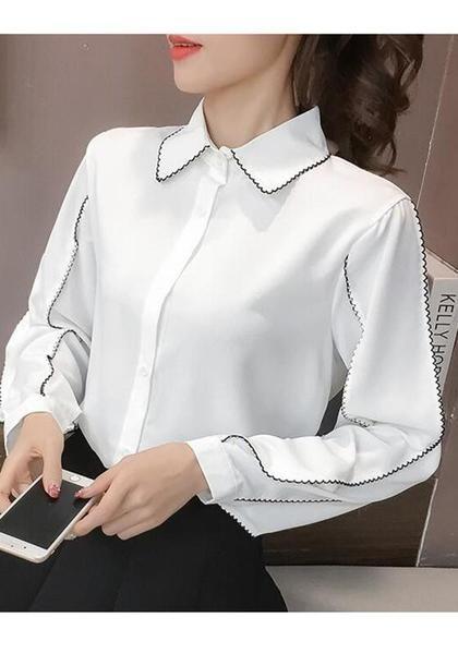 f670b753d4ed89 White Ruffle Turndown Collar V-neck Long Sleeve Chiffon Blouse in ...