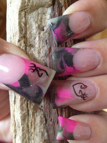 Pink Camo Flared Nails by blingdoza - Nail Art Gallery nailartgallery.nailsmag.com by Nails Magazine www.nailsmag.com #nailart