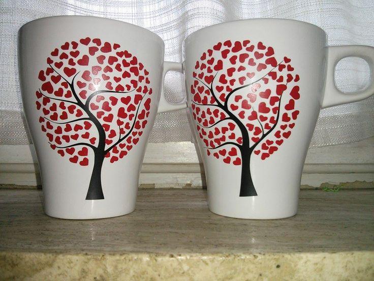 Tazze con albero in vinile, vinile, tazze, coppia, regalo, idee regalo, creazioni, fatto a mano, handmade, vinyl, mug, matrimonio