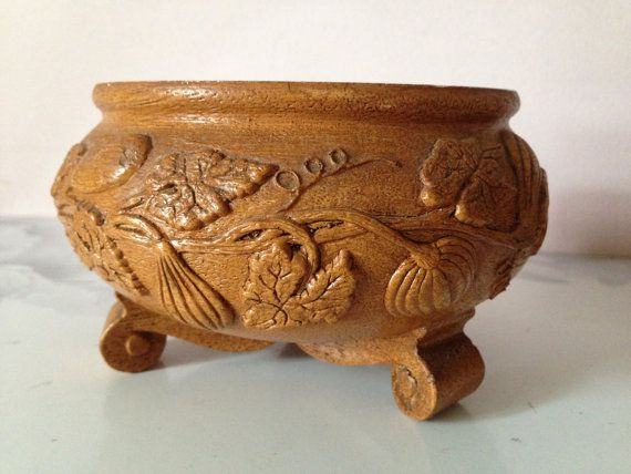 WOOD DECORATIVE BOWL Footed wood composite by AnnmarieFamilyTree
