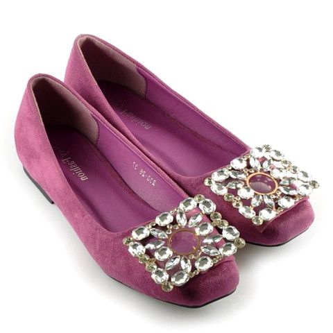 Sexy Women's Flat Shoes With Rhinestones and Square Toe Design