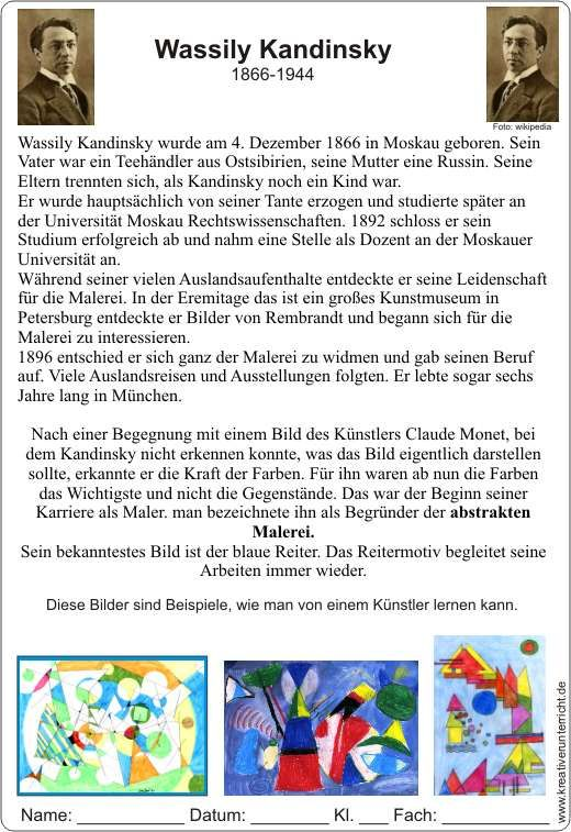 Wassily Kandinsky – Curriculum Vitae – Imitating His Ideas
