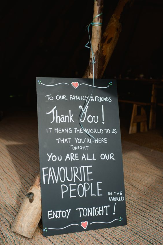 Chalk boards with messages or instructions for your guests: