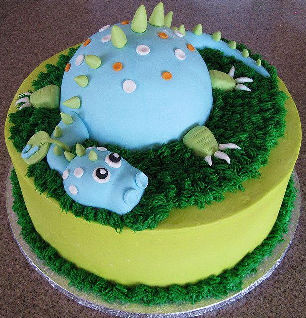 Super cute dinosaur birthday cake