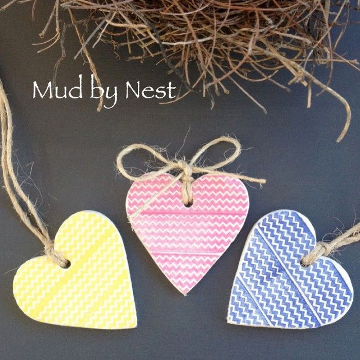 clay gift tags - rustic chevron hearts(set of 3) | mud by nest | madeit.com.au