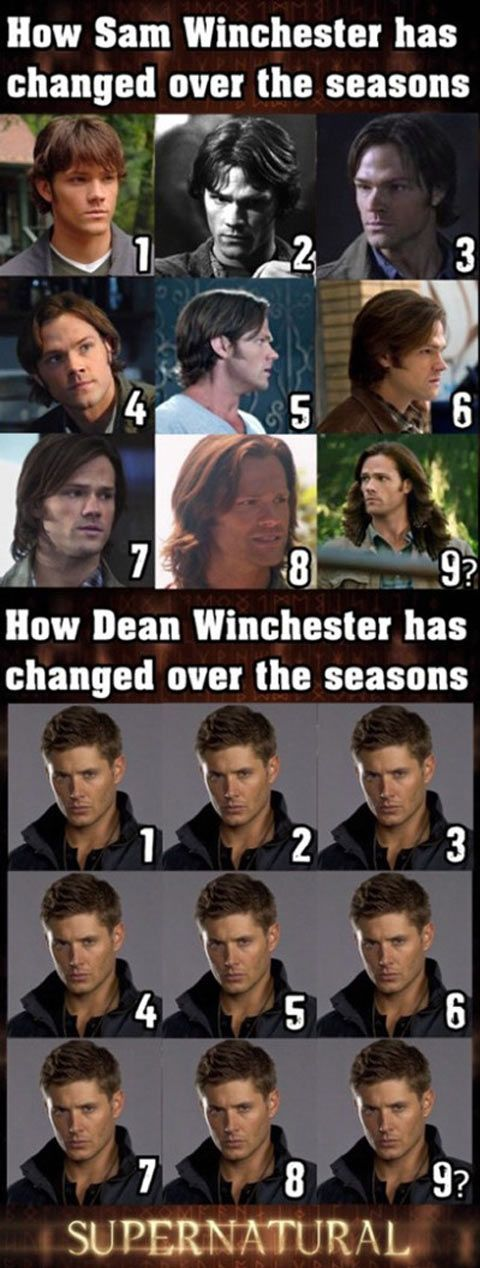 Winchester brothers hairstyle evolution… PLEASE CUT SAM'S HAIR BACK TO SEASON 1. I DON'T CARE IF IT MAKES HI LOOK A LITTLE OLDER, ITS LONG AND FLOWING LIKE A WOMANS. NO OFFENSE SAMMY. I LOVE YOU, BABY. -___-