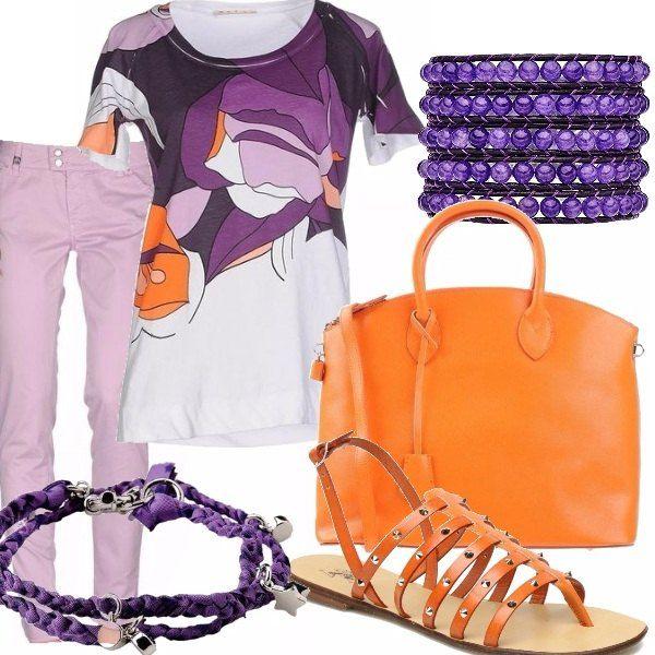 T-shirt bianca con stampa nei colori del lilla, viola ed arancio, accompagnata da pantalone lilla. Borsa shopping in una bella tonalità arancio, sandali infradito in cuoio con motivo di fascette e borchie. Bracciale in pelle con vere ametiste, o bracciale in tessuto.