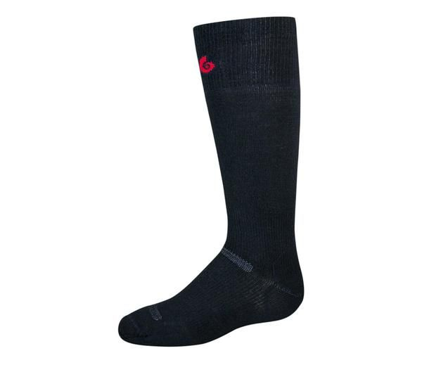 This ski sock is ultra thin for tight fitting boots and without cushion provides a performance fit. Wool 63% Spandex 3% Nylon 34% size large