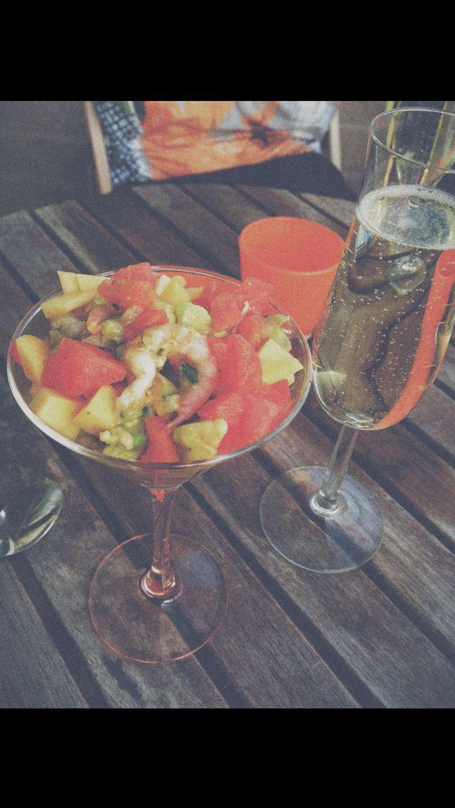 Shrimp cocktail mango chili watermelon avocado