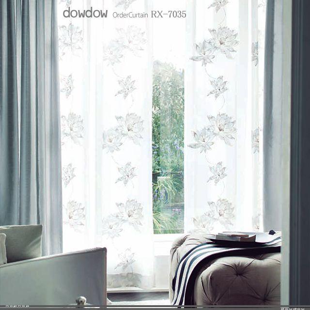 【フレンチ・ビンテージ】淡い6種類の色糸の花の刺繍のレースカーテン【RX-7035】ペールホワイト オーダーカーテンの通販・販売dowdow