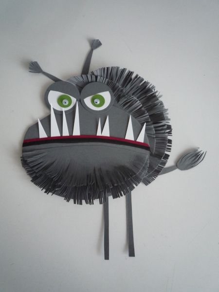 "Cool project for the Black Lagoon Series of Books. ""The Class from the Black Lagoon"" kids can make their own monsters. I think you could use a paper plate and paint it, cut out and glue eyes and teeth"