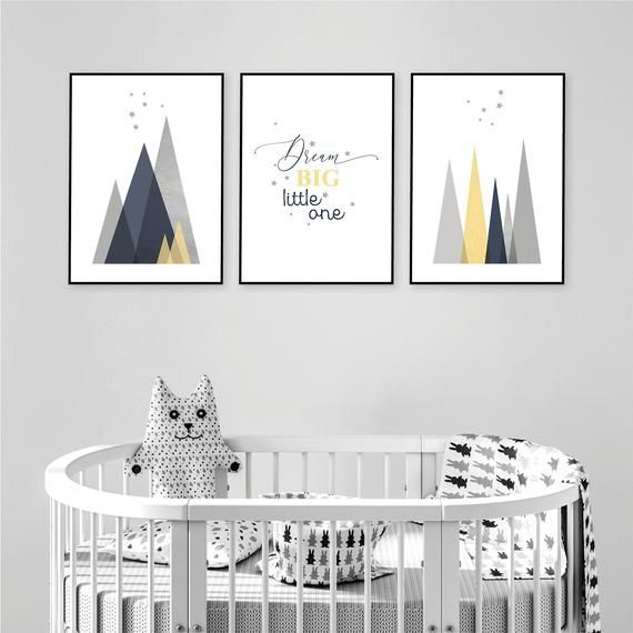 Instant Download Set Of 3 Scandinavian Nursery Mountain And Stars Prints Navy Blue Yellow Grey Scandi Mountains New Baby Boy Baby Girl Room Baby Girl Room Grey Nursery Boy Boy Nursery