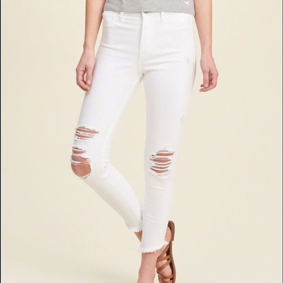 Ankle High Waisted White Ripped Jeans Hollister High Waisted White Ripped Jeans. The fabric is very similar to the topshop soft fabric. Selling because too small on me. *chose topshop for views* barely worn!! Topshop Jeans Ankle & Cropped