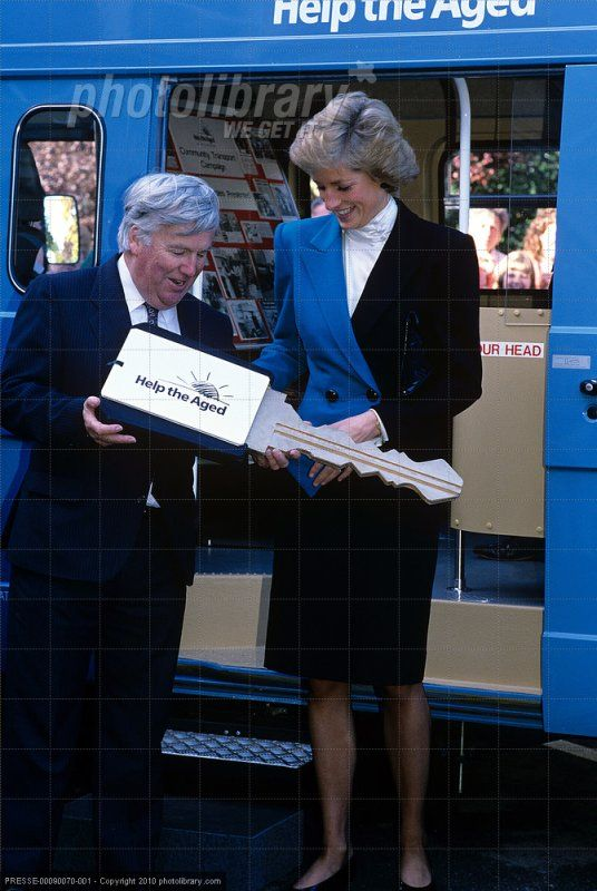 October 6, 1988: Princess Diana presented with a symbolic key to three buses for Help the Aged at the Teesside Hospice Care Foundation in Middlesbrough, Cleveland