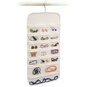 Hanging Jewelry Organizer White 37 Pockets Bedroom Closet Accessory Storage