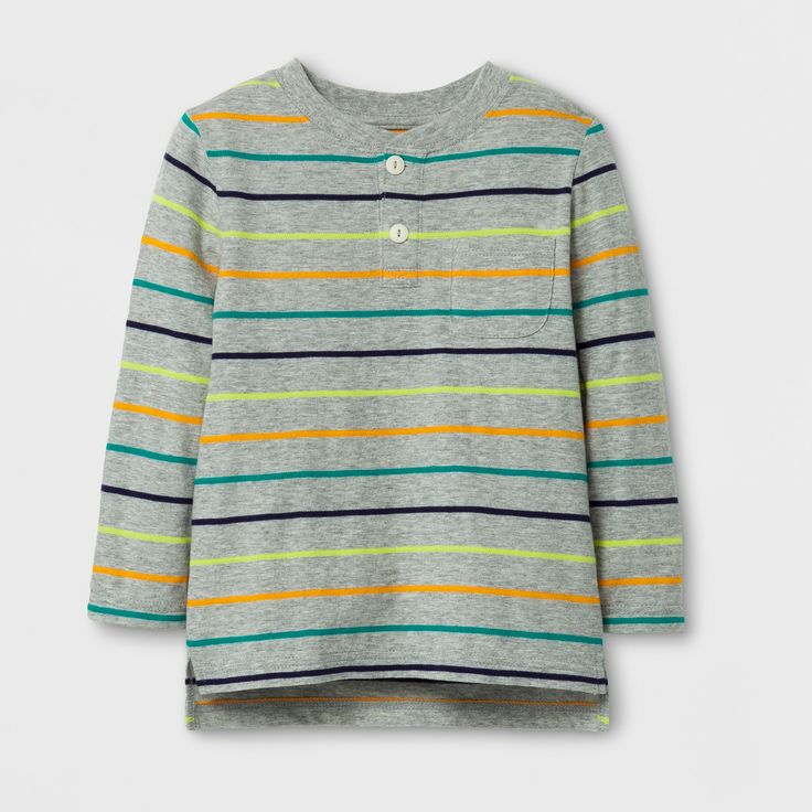 Toddler Boys' Long Sleeve Henley T-Shirt - Cat & Jack Gray 12M, Size: 12 M, Multicolored