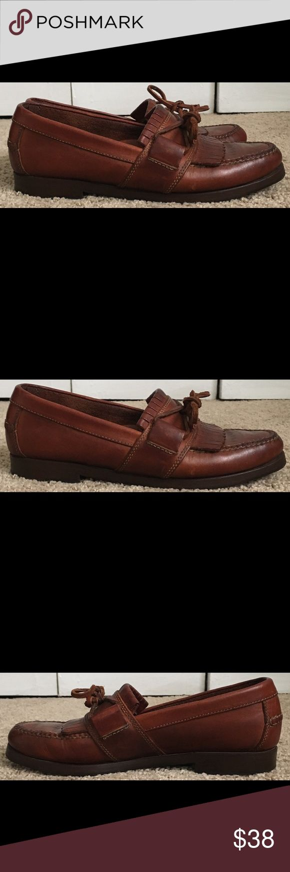 COLE HAAN F5638 Brown Leather Loafers Womens 7.5 Worn a few times. Has wear but in Great Worn Condition. See Pictures. Bin 1 B8 Cole Haan Shoes Flats & Loafers
