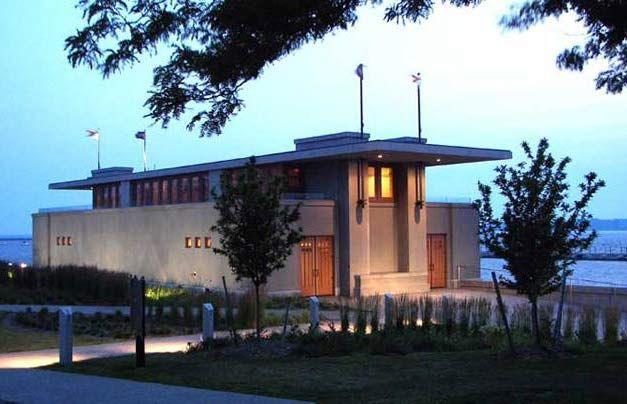 Frank Lloyd Wright. Boathouse Lake Erie, Buffalo, NY. Designed in 1910 for University of Wisconsin Boat Club finally realized in 2007.