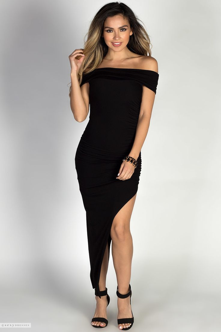 Jersey Bodycon Off Shoulder Long Black Dress with Thigh High Slit